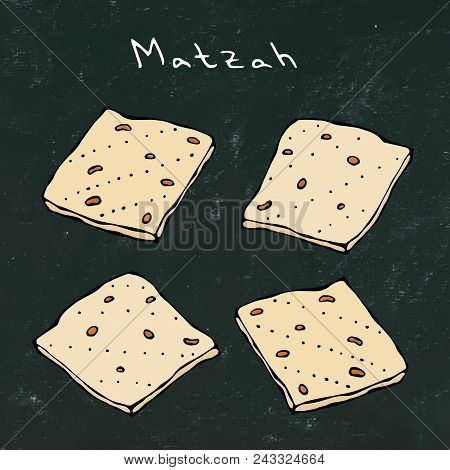 Black Board Background. Matzah Or Matzo, Unleavened Bread For Pesach, Jewish Holiday Of Passover, Is