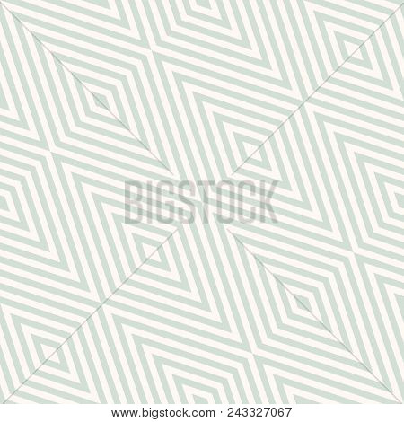 Vector Geometric Seamless Pattern With Rhombuses, Stripes, Diagonal Lines, Zigzag, Chevron. Subtle A