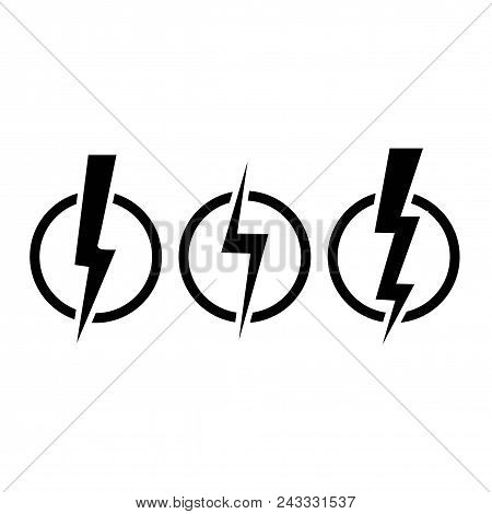 Lightening Bolt Icons. Three Version On White Background. Vector Illustration.