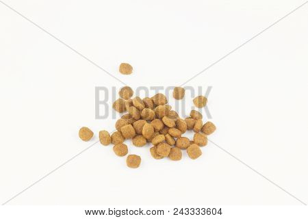 One Color Dry Kibble For Dog Or Cat Food On Isolated White Background.