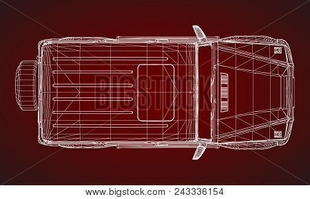 Model Of Premium Frame Suv With A Classic Design. Vector Illustration Of A White Polygonal Triangula