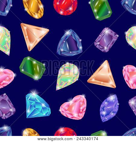 Set of different precious stones - diamond, topaz, ruby, emerald, sapphire, opal, aquamarine, alexandrite, citrine, tourmaline, diamond, garnet. Seamless pattern poster