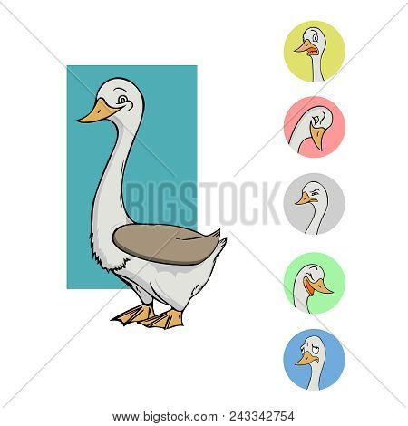 Set Vector Stock Illustrations. Emoji Character Cartoon Goose Stickers Emoticons With Different Emot