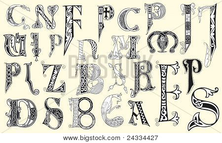 Various medieval capital letters in editable vector file poster