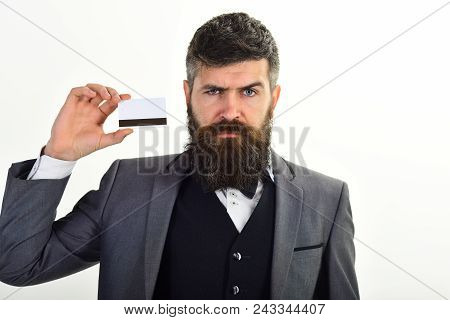 Businessman With Beard Holds Credit Card. Banker Trust In Safety And Reliability Of Banking System.