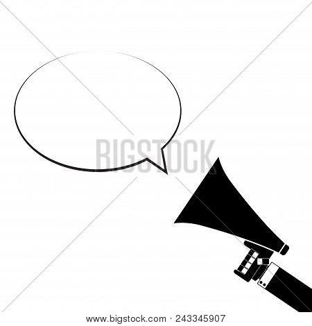 Announcement In Megaphone. Monochrome Speech Bubble Announce, Vector Speaker Message Bubble Illustra
