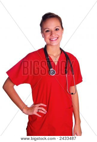 Young Woman In Red Scrubs