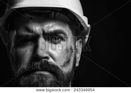 Business, Building, Industry, Technology - Builder Concept. Hard Work. Portrait Bearded Man With Pro