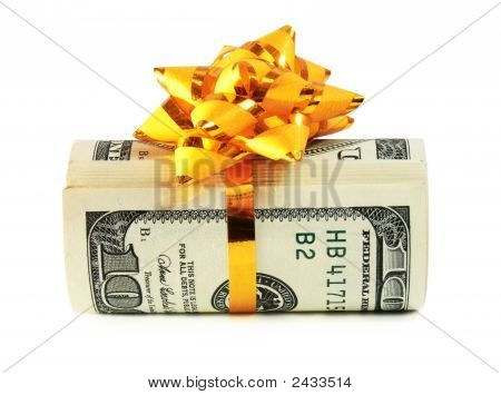 Money Roll Wrapped In A Golden Ribbon 2