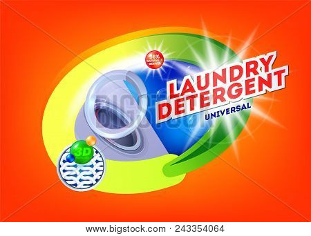 Laundry Detergent For Universal Washing. Template For Laundry Detergent. Package Design For Washing