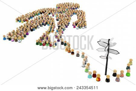 Crowd Of Small Symbolic Figures Forming Big Person Shape Signpost, 3d Illustration, Horizontal, Isol