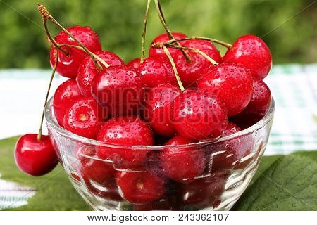 Berries Aberries Are Cherries. The Season Of Berries Has Come. Red, Ripe, Cherry Is Very Juicy And T