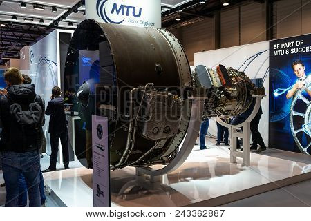 Berlin - April 26, 2018: The Stand Of Mtu Aero Engines And High-bypass Geared Turbofan Engine Family