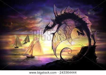 For Navigation. Fantasy Dragon With Stars And Planets On A Background