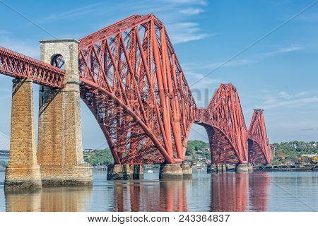 Forth Bridge, Railway Bridge Over Firth Of Forth Near Queensferry In Scotland