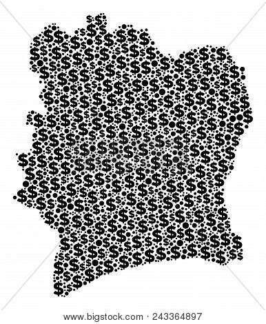 Ivory Coast Map Mosaic Of Money Signs And Spheric Spots In Variable Sizes. Abstract Vector Treasury