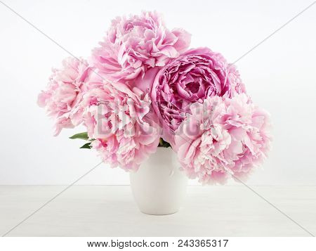 Pink Peony Bouquet On Light Wooden Background