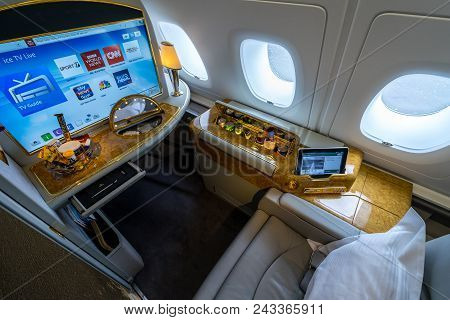 Berlin - April 26, 2018: Interior And Seat Of The First Class Passengers Of The Aircraft Airbus A380