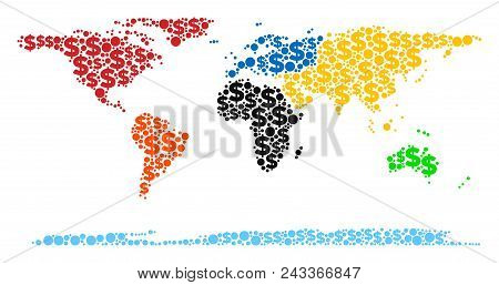 World Continent Map Composition Of Money Signs And Spheric Dots In Various Sizes. Abstract Vector Ca