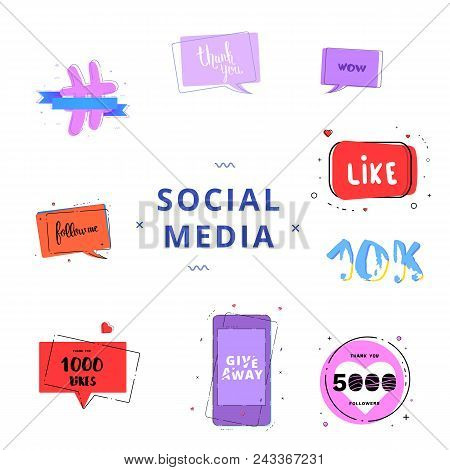 Social Media Set Of  Banners With Lettering Isolated On White Background. Like, 5k Followers, Follow