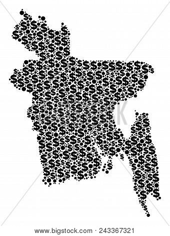 Bangladesh Map Composition Of Dollars And Round Spots In Various Sizes. Abstract Vector Investment A