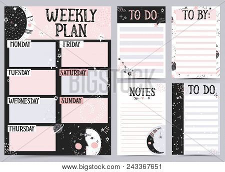 Weekly And Daily Planner Template. Organizer And Schedule With Notes And To Do List. Vector Illustra