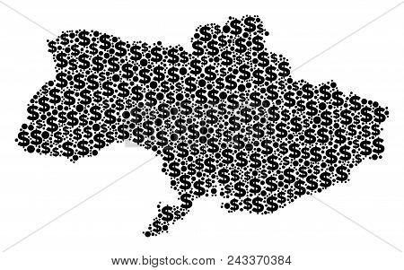 Ukraine Map Composition Of Dollars And Circle Spots In Different Sizes. Abstract Vector Cash And Gdp