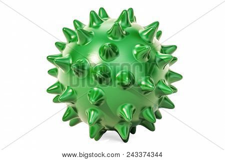 Green Spiky Ball For Massage Or Toy For Pets. 3d Rendering