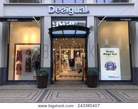 Lelystad, Flevoland, The Netherlands - June 3, 2018: Entrance Of Desigual Fashion Outlet Store In Ba