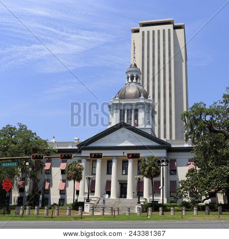 Tallahassee, Fl, Usa - May 13, 2018: Front Of Historic State Capital Downtown. Historic State Capita