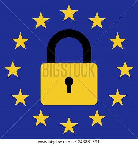 Sign Of Prohibition Of Entry Of Migrants In The European Union, Vector Icon Flag Of The European Uni