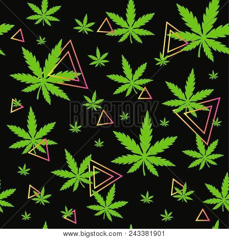 Marijuana,green Weed, Dope Seamless Pattern With Abstract Geometry Triangle. Vector Illustration Bac