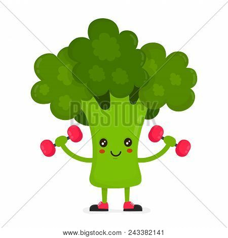Cute Happy Smiling Broccoli Doing Exercises With Dumbbells. Vector Modern Flat Style Cartoon Charact