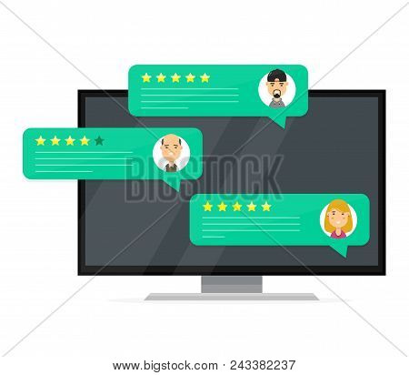 Review Rating Bubble Speeches. Vector Modern Style Cartoon Character Illustration Avatar Icon Design