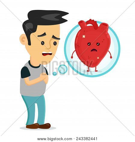 Sad Sick Young Man With Heart Disease Problem Character. Vector Flat Cartoon Illustration Icon Desig
