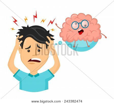 Young Man With Strees,headache. Funny Cute Crazy Mad Sick Brain. Vector Flat Cartoon Character Illus