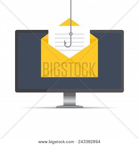 Data Phishing, Hacking Online Scam On Computer Desktop Concept. Fishing By Email, Envelope And Fishi