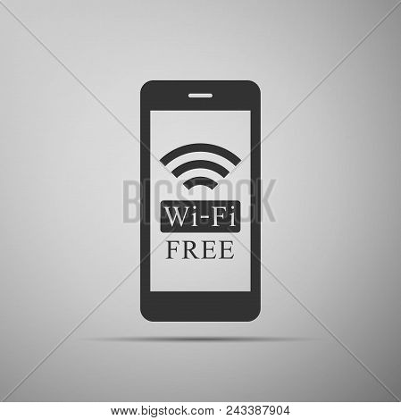 Smartphone With Free Wi-fi Wireless Connection Icon Isolated On Grey Background. Wireless Technology