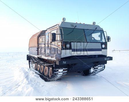 Yamal, Russia - February 7, 2017: Gas Service Crawler Chetra Tm-140 In The Polar Snow Desert.