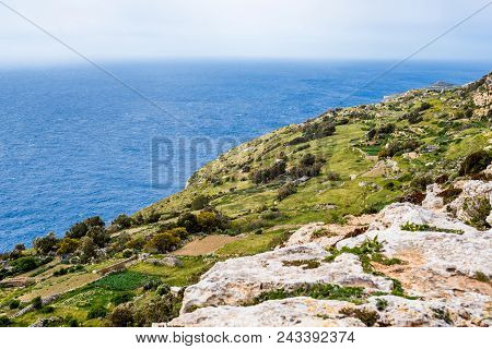 Photo Of Empty Street With Crossroad And Stop Sign, Dingli, Malta