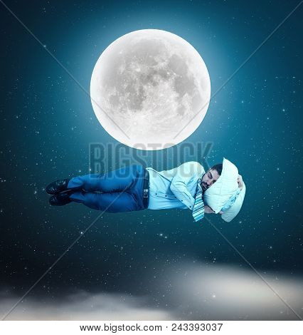 The Man Floating In Space While Sleeping.