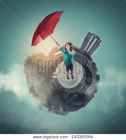 Woman Getting Off The Ground With An Umbrella. 360 Degree View Globe