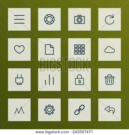 Interface Icons Line Style Set With Options, Close, Schedule And Other Undo Elements. Isolated Vecto