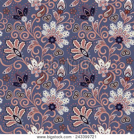 Hand Drawn Flower Seamless Pattern. Colorful Seamless Pattern With Pargeting Grunge Whimsical Flower