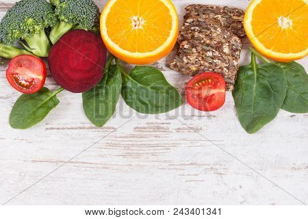 Nutritious ingredients containing vitamin B9, dietary fiber, natural minerals and folic acid, concept of healthy nutrition, copy space for text on rustic board poster