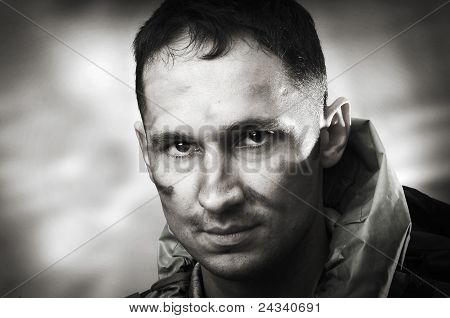 Portrait Of Male Soldier, Black And White