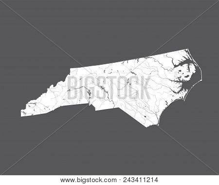 U.s. States - Map Of North Carolina. Hand Made. Rivers And Lakes Are Shown. Please Look At My Other