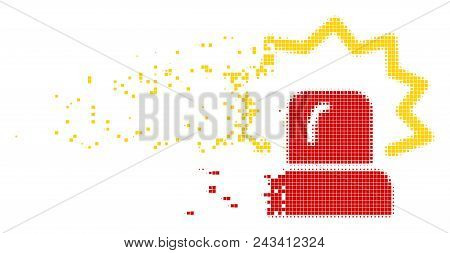 Dissolved alarm dot vector icon with disintegration effect. Rectangular cells are arranged into dispersed alarm figure. Pixel disintegrating effect shows speed and motion of cyberspace objects. poster
