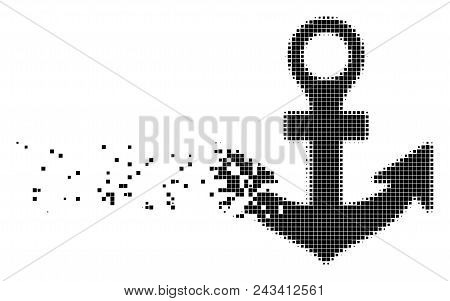 Fractured Anchor Dot Vector Icon With Disintegration Effect. Rectangular Pieces Are Combined Into Di