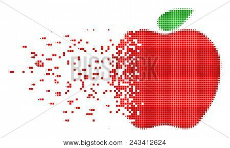Dissolved Apple Dot Vector Icon With Disintegration Effect. Rectangular Pixels Are Organized Into Di